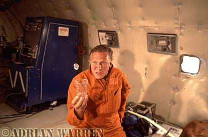 Sir David Attenborough looking at the properties of water in Zero Gravity in NASA's KC-135 (Vomit Comet) for The Living Planet series