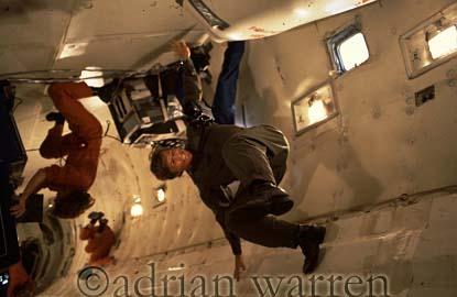 Adrian Warren in Zero Gravity in NASA's KC135 (Vomit Comet) for The Living Planet series