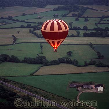 AERIALS: Hot-Air Balloon over Somerset, England, UK