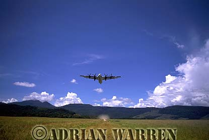 DASH 7 Taking off from Uruyen, with Mount AUYANTEPUI in background, Venezuela, South America