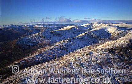 Mountain ridges in snow, Lake District National Park, Cumbria, England