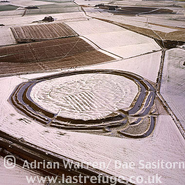 Yarnbury Castle Hill Fort in snow, Wiltshire, England