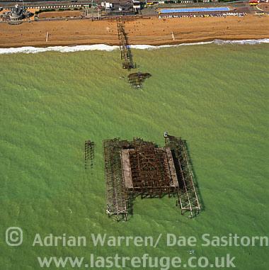 Burnt Brighton West Pier, East Sussex, England