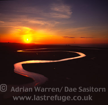 River Parrett at Burnham-on-Sea (sunset), Somerset, England