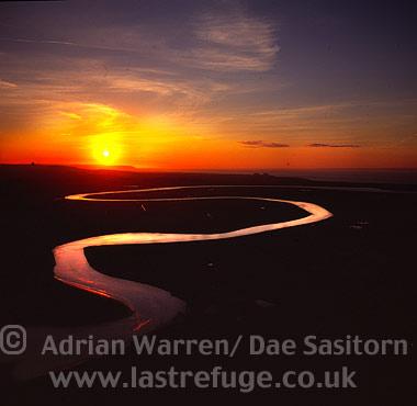 River Parrett at Burnham-on-Sea (sunset), Somerset, England