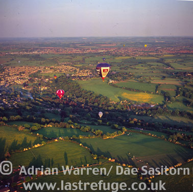 Balloons over Somerset Levels, England