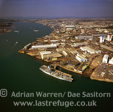Plymouth with Torpoint-Plymouth Ferry teminal in distance , Cornwall, England