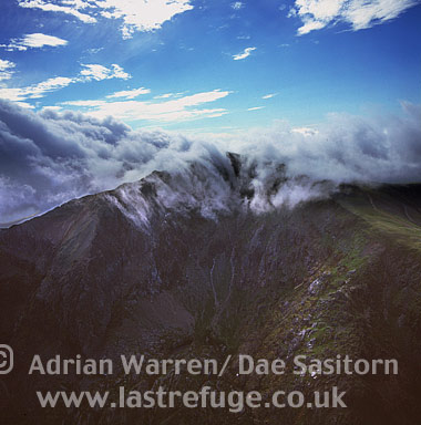 Snowdon Peak with clouds, Snowdonia National Park, North Wales