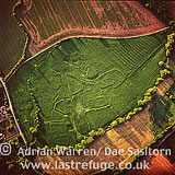 Middle Ditchford, ancient settlement earthwork,, Gloucestershire, England