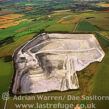 Chalk Quarry with Westbury White Horse in background, Westbury, Wiltshire, England
