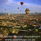Balloons over Bristol and Clifton Suspension Bridge, Balloon Festival, Somerset, England