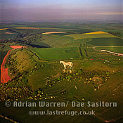 Westbury White Horse, and Bratton Camp Hill Fort, Wiltshire, England