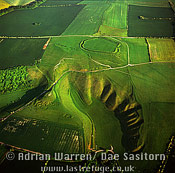 White Horse: Uffington White Horse with Uffington Castle hill fort, Oxfordshire, England