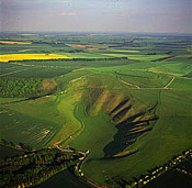 White Horse: Uffington White Horse with Uffington Castle, Oxfordshire, England