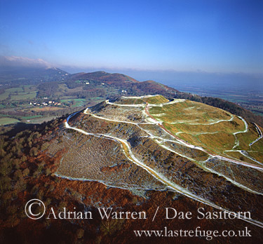 Herefordshire Beacon hill fort in snow, Malvern Hills, Worcestershire, England