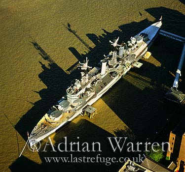 HMS Belfast and the River Thames, London, England