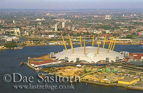 Millennium Dome and River Thames, London, England