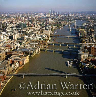 Chain of bridges over Thames river, London, England