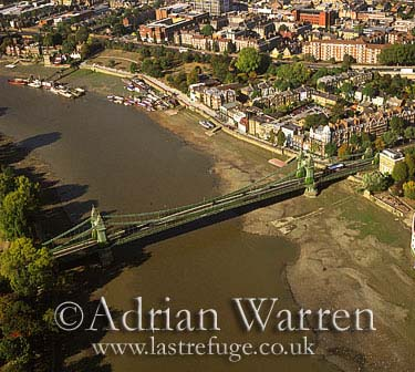 Hammersmith Bridge and River Thames, London, England