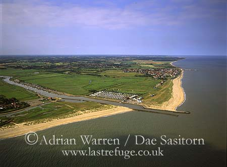 Just to the north east of Walberswick with the mouth of River Blyth, Southwold in background, Suffolk, England