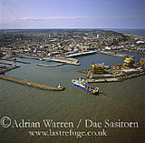 Lowestoft harbour, Lowestoft, most easterly point in UK, Suffolk, England