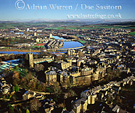 Lancaster castle and its town with River Lune, Lancashire, England