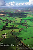 River Eden, meandering section of, near head of Solway Firth, Cumbria, England