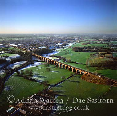 Holmes Chapel railway viaduct in snow, Cheshire, England
