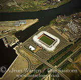 Middlesbrough Football Stadium by the river Tees, Cleveland, England