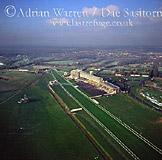 Epsom Downs racecourse, near Epsom, Surrey. The DOWN referred to in the name is the North Downs, England