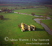 Newark Priory and River Wey, Surrey, England