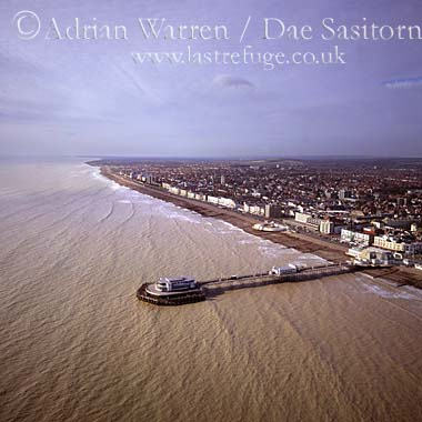 Worthing town and its pier, West Sussex, England