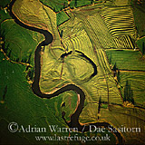 River Dove by Uttoxeter - oxbow lake, with ridge and furrow ploughmarks, Staffordshire, England