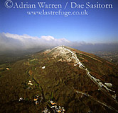 Great Malvern Hill, in snow Worcestershire, England