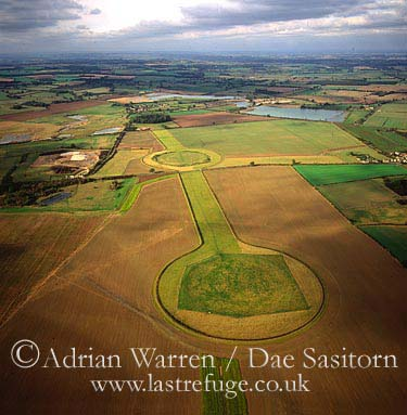 The Thornborough Henges (Circles), a complex of three aligned henges near the village of Thornborough and town of Masham, North Yorkshire, England