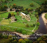 Bolton Abbey by the river Wharfe, Wharfedale, Yorkshire Dales, Yorkshire, England