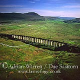 Ribblehead Railway Viaduct, Ingleborough in background, Yorkshire Dales, Yorkshire, England
