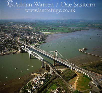 Tamar Bridge (Cornwall and Devon Border) and Brunel Bridge (with Saltash in background, Devon and Cornwall, England