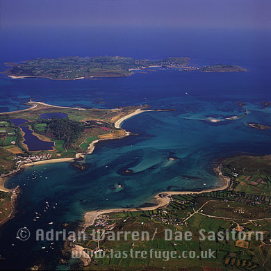 Bryher, Tresco and St. Mary's in background, Isles of Scilly, Cornwall, England