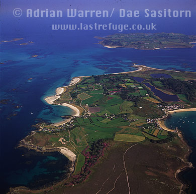 Tresco and St. Mary's in background, Isles of Scilly, Cornwall, England
