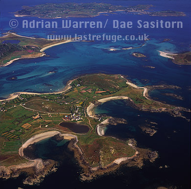 Bryher with Tresco and St. Mary's in background, Isles of Scilly, Cornwall, England