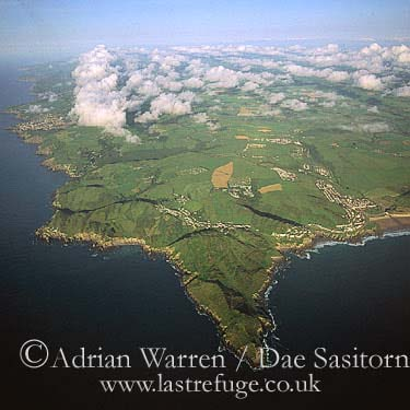Morte Point, high altitude aerial looking east, North Devon Coast, Devon, England