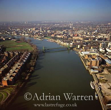 Hammersmith Bridge and River Thames, London, England