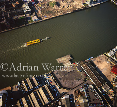 Battersea Heliport and the River Thames, London, England