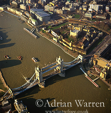 Tower Bridge, Tower of London and the River Thames, London, England