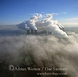 fog over Cooling towers at Didcot Power Station, Oxfordshire, England