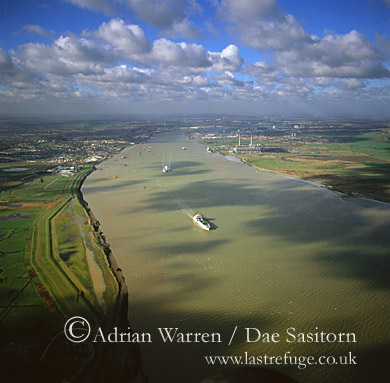 The River Thames Estuary looking east from Grays, Kent, England