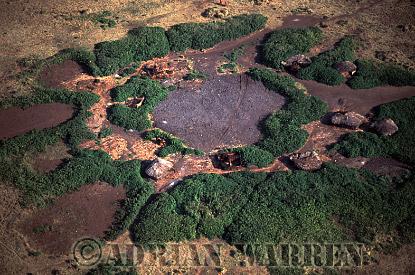 Aerials (aerial image) of Africa : Masai village from Air, Ngorongoro, Tanzania