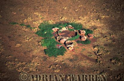 Aerials (aerial image) of Africa : Masai Enclosures from Air, Ngorongoro, Tanzania