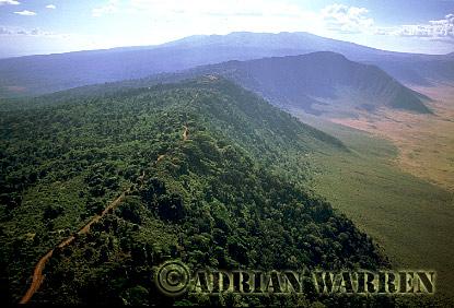 Aerials (aerial image) of Africa : Thr rim of NGORONGORO CRATER, Tanzania